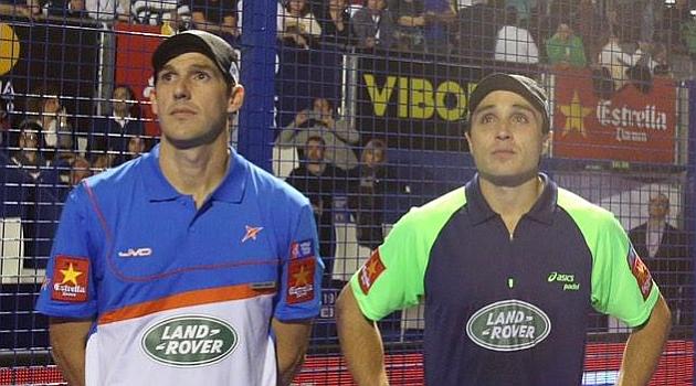 Juan Martín Díaz y Fernando Belasteguín antes de comenzar su último partido. (Foto: Diario Marca).
