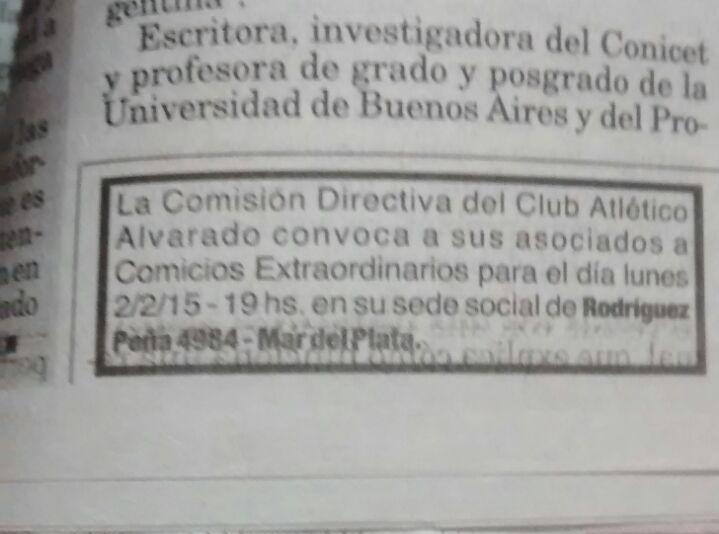 El llamado oficial a elecciones de Alvarado para el 2 de febrero.