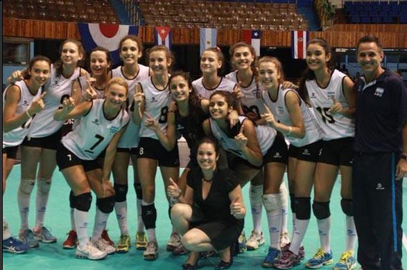 Las chicas de la Selección Argentina festejando el triunfo.