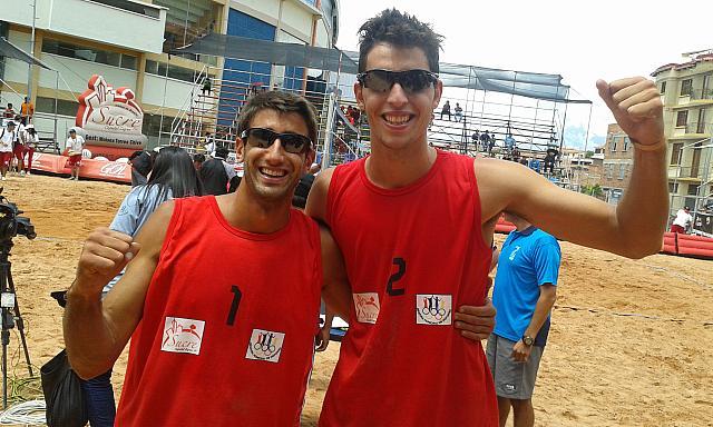 Ian Mehamed y Nicolás Capogrosso, la dupla argentina en el Beach Volley.  (Foto: FEVA)