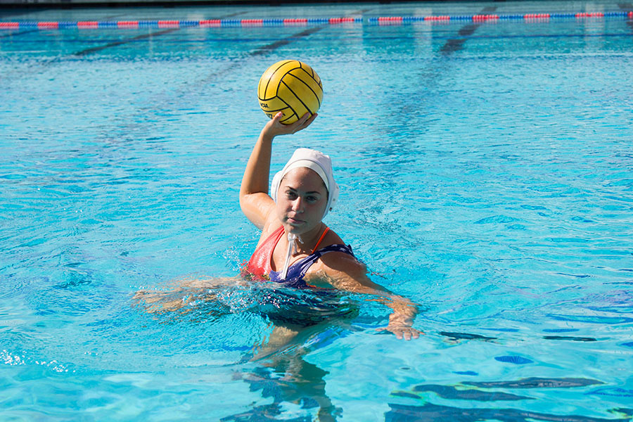 Rocio Fesembeck is a 19-year-old water polo star from Argentina who plays for our City College Vaqueros, Monday, Nov. 3, 2014, at San Marcos High School in Goleta, Calif. Fesembeck played a season of water polo in Argentina, and now leads the Vaqueros in points and goals this season.