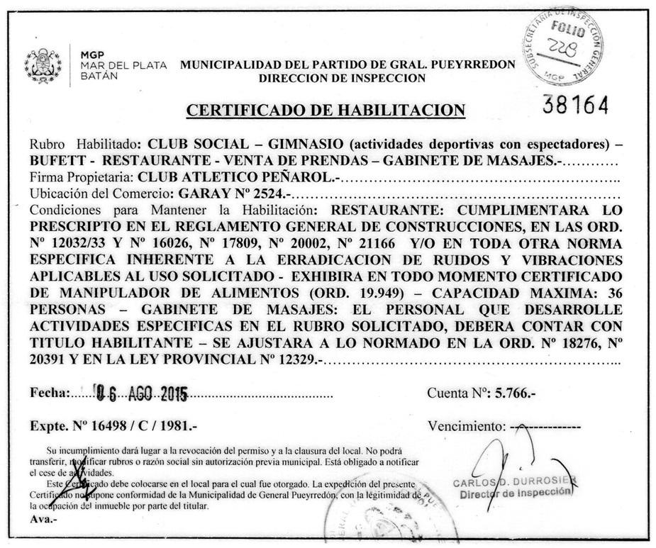 El certificado de habilitación para el Club Peñarol de Mar del Plata.