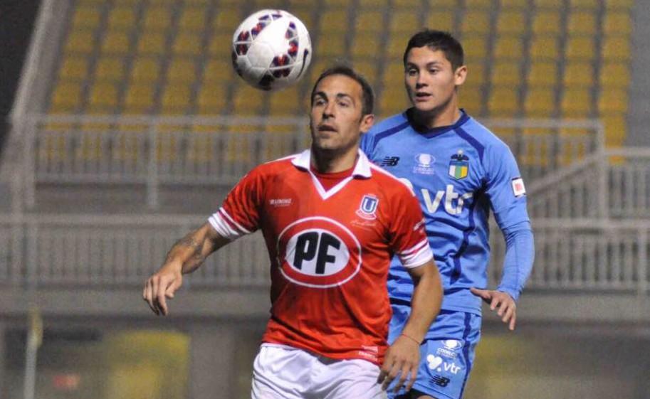 Matías Arrúa en acción con la camiseta de Unión La Calera.