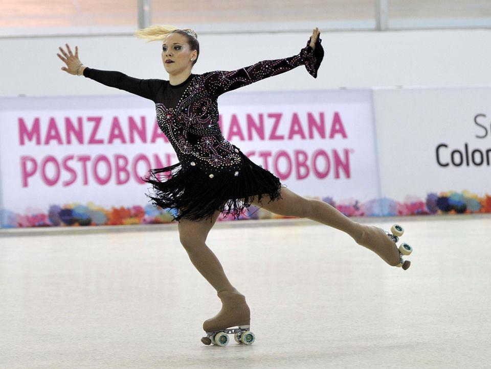Nadia Ortiz Villar en pleno desarrollo de su performance en el Mundial.