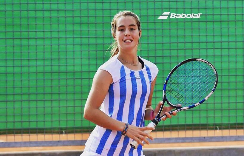 Paula Barañano en el partido de singles de hoy.