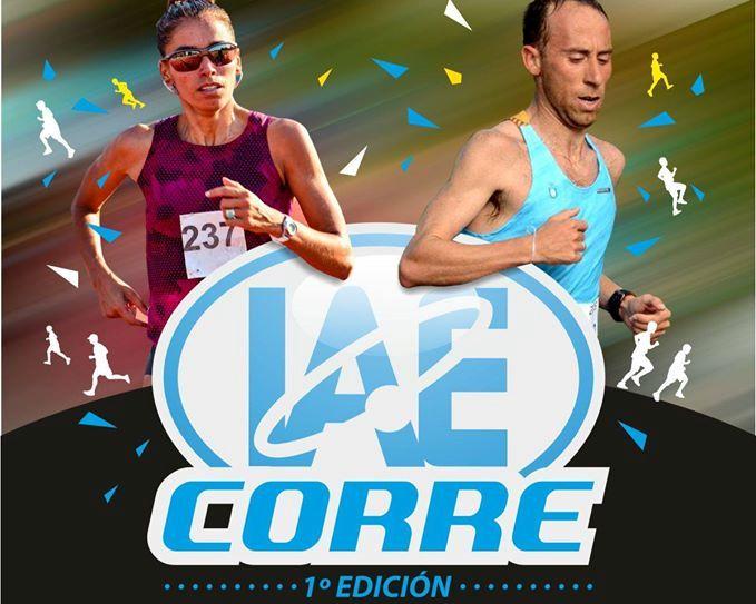 El afiche del 1º IAE Corre con sus padrinos, Maria Peralta y Mariano Mastromarino.