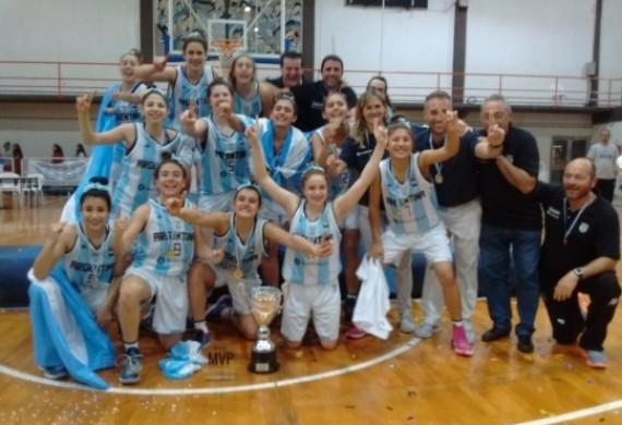 El equipo argentino Sub-14 celebrando el título obtenido. (Foto: Prensa CABB)