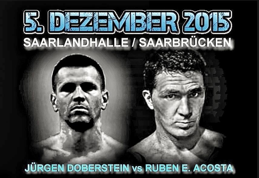 El afiche de la pelea Doberstein-Acosta en Alemania.