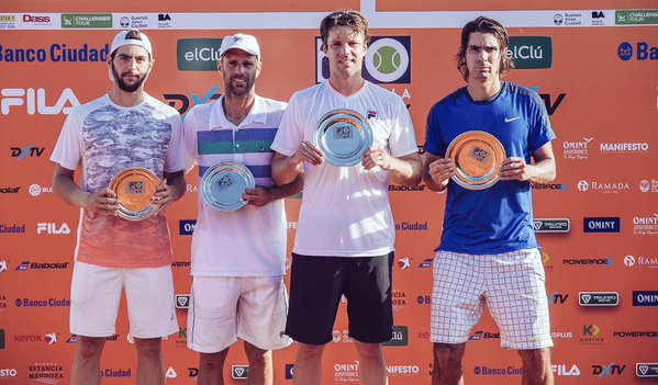 Zeballos y Peralta con su premio en Buenos Aires.
