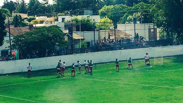 La entrada en calor de Círculo en Tandil. (Foto: Twitter Círculo Deportivo)