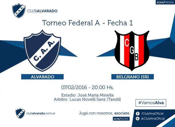 Alvarado y Belgrano de Santa Rosa se medirán por la primera fecha.