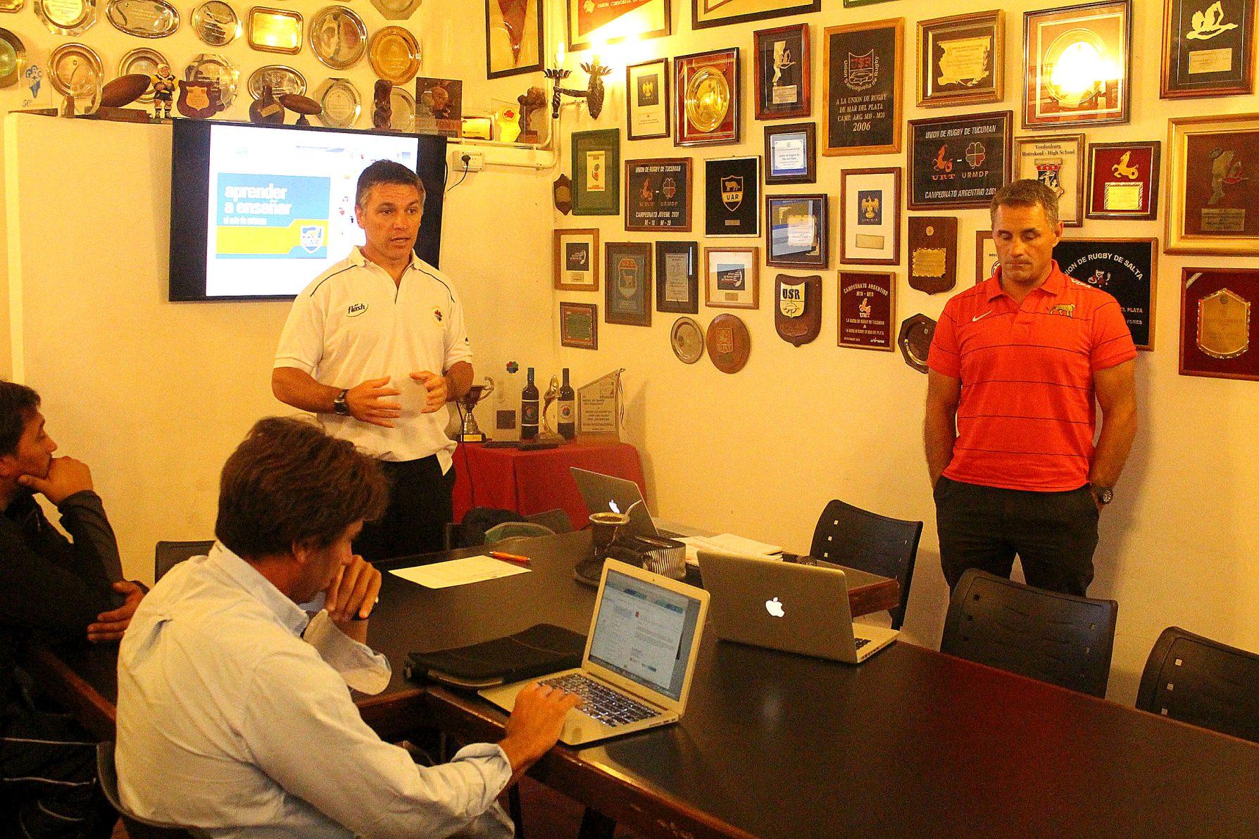 Etcheto, Guatieri y López SIlva en la reunión. (Foto: Prensa URMDP)