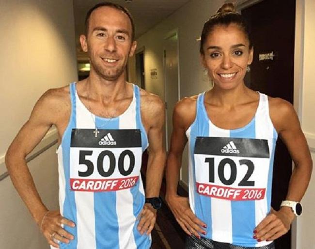 Mariano Mastromarino y María Peralta antes de competir con los colores nacionales.