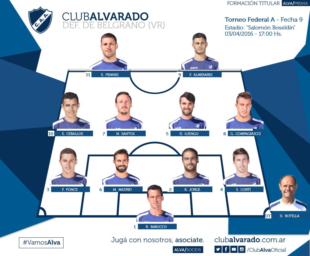 Así formará Alvarado ante Defensores de Belgrano (Foto: Club Alvarado)