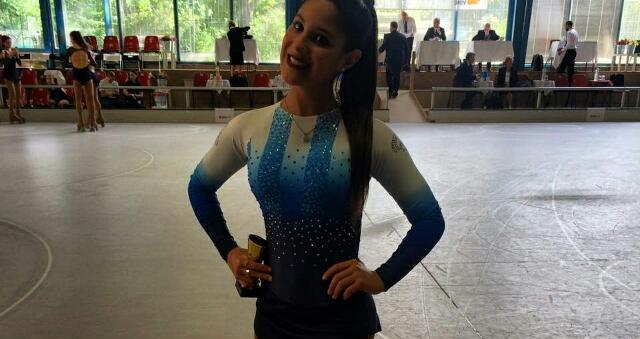Lucía Martínez luego de la competencia en Alemania.