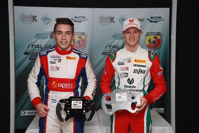 Marcos Siebert y Mick Schumacher rivales directos en la pista.