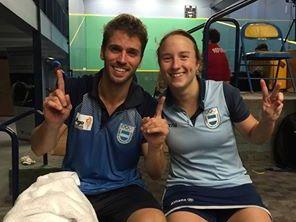 Gonzalo Miranda y Antonella Falcione luego de lograr el oro.