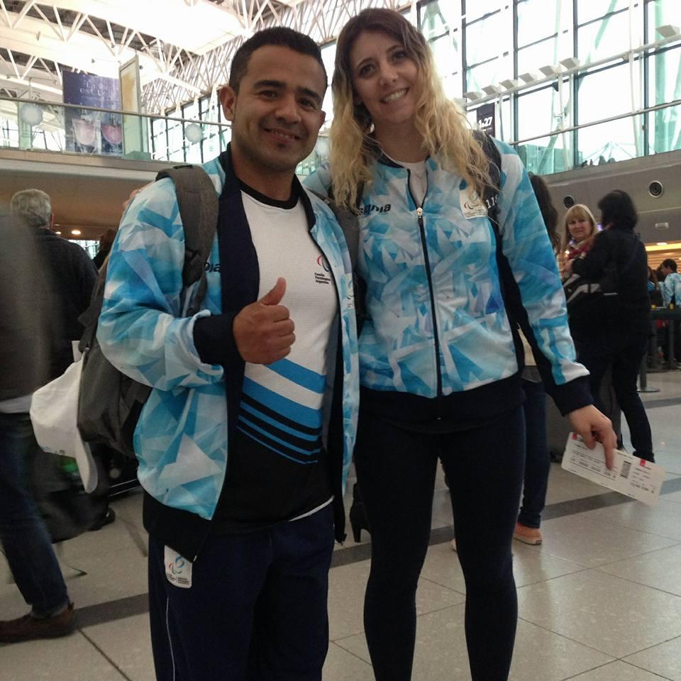 David Coronel con Sofía Cadona, su entrenadora.